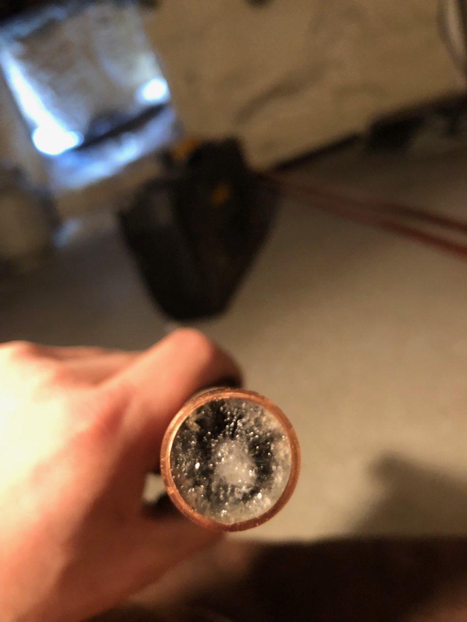 inside of a frozen pipe during 2019 Chicago polar vortex